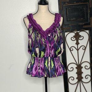 Bisou Bisou sleeveless blouse top Sz large